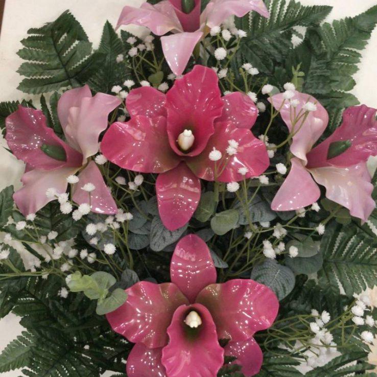 Mazzo con orchidee katley per loculi e tombe