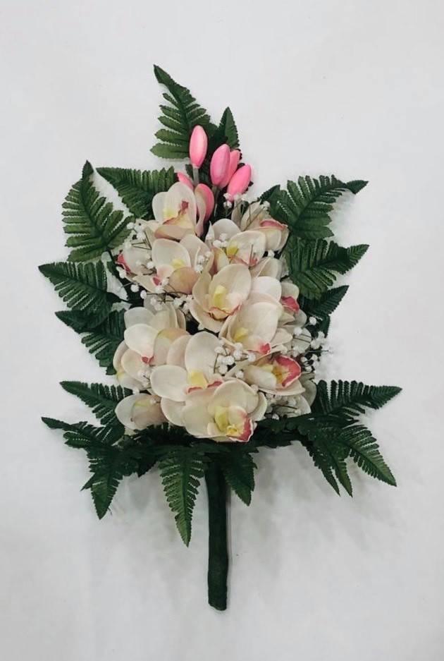 orchidea cream doppia in silicone mazzo fiori per cimiteri
